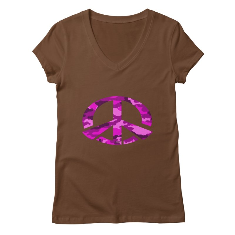 Peace - Pink Camo Edition Women's Regular V-Neck by uniquego's Artist Shop