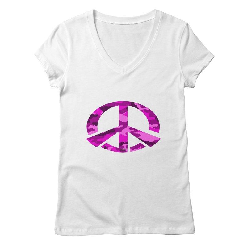 Peace - Pink Camo Edition Women's Regular V-Neck by uniquego's Artist Shop