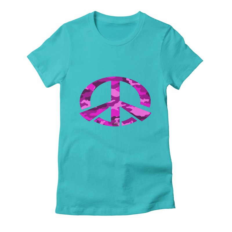 Peace - Pink Camo Edition Women's Fitted T-Shirt by uniquego's Artist Shop