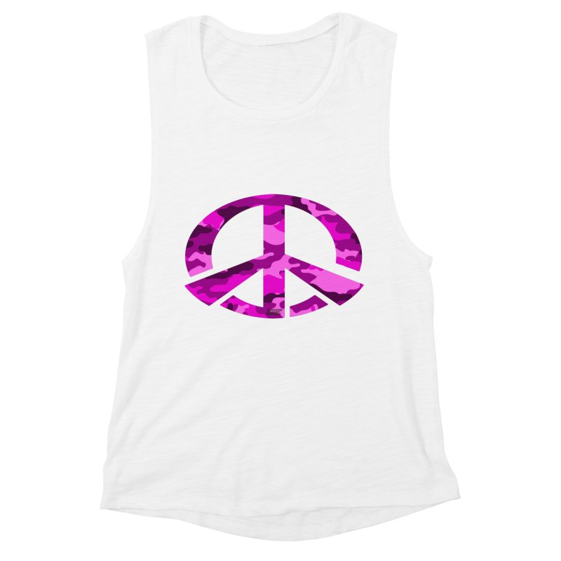 Peace - Pink Camo Edition Women's Muscle Tank by uniquego's Artist Shop