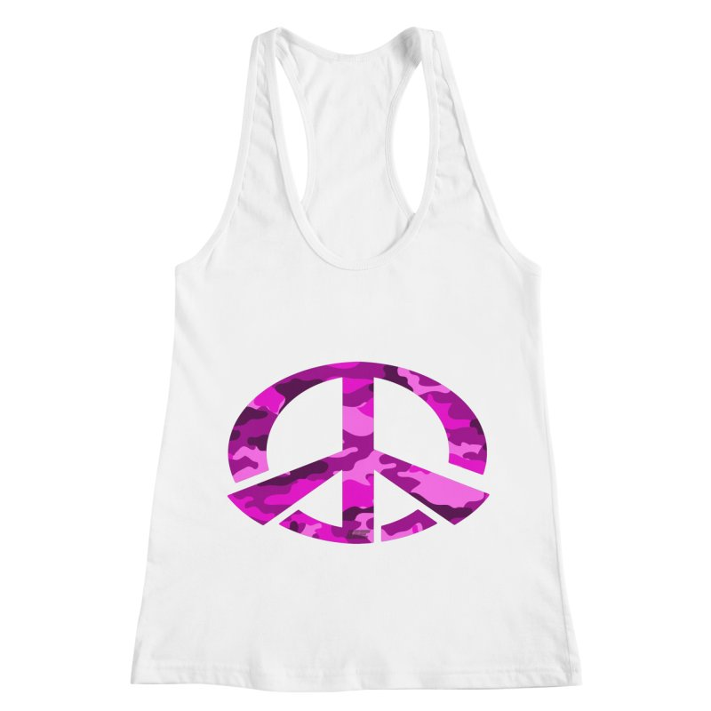 Peace - Pink Camo Edition Women's Racerback Tank by uniquego's Artist Shop