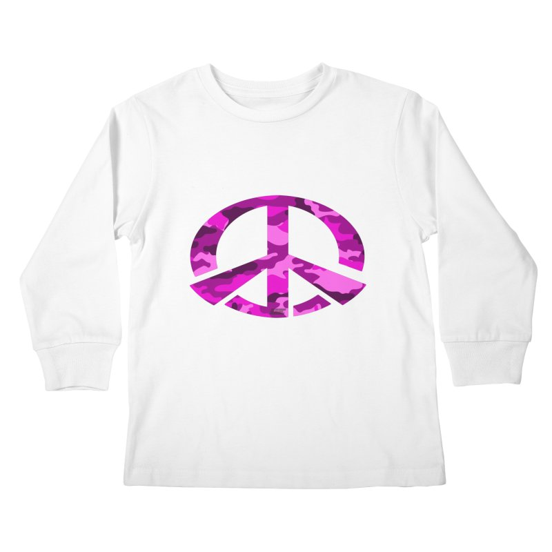 Peace - Pink Camo Edition Kids Longsleeve T-Shirt by uniquego's Artist Shop