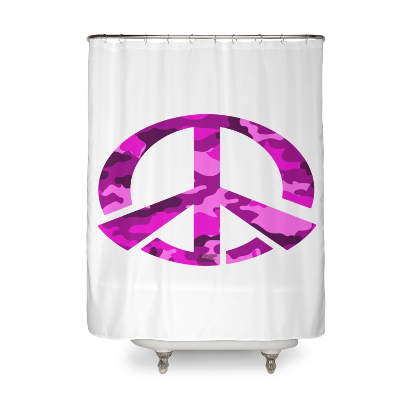 Peace - Pink Camo Edition Home Shower Curtain by uniquego's Artist Shop