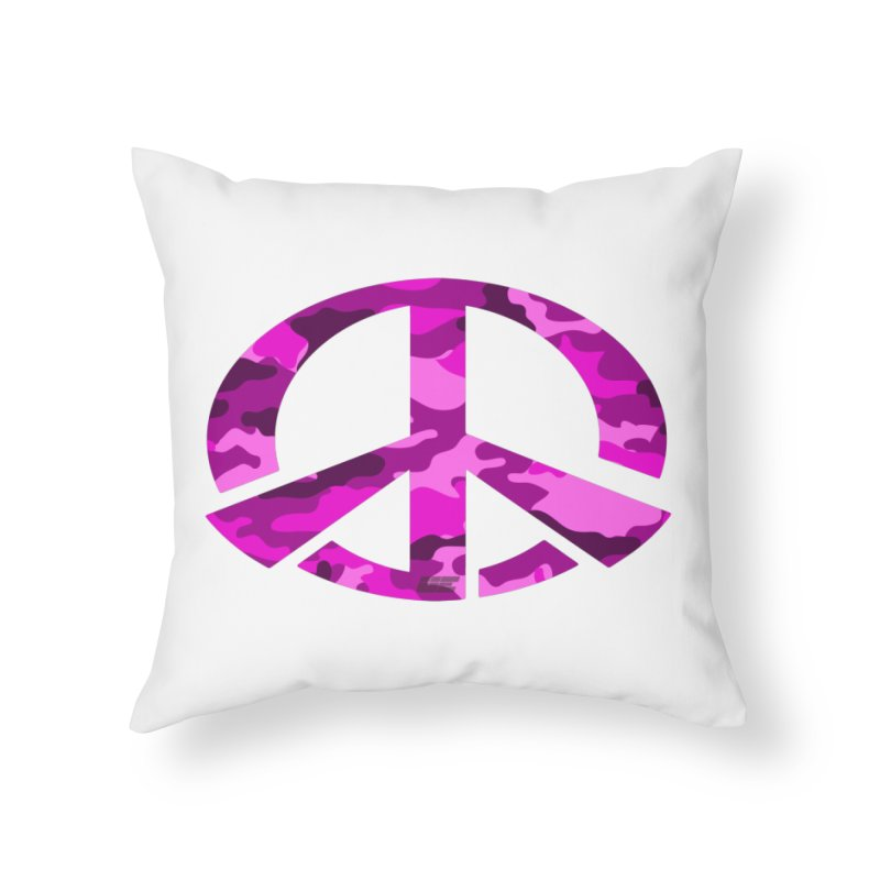 Peace - Pink Camo Edition Home Throw Pillow by uniquego's Artist Shop