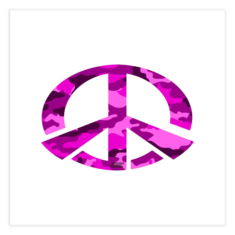 Peace - Pink Camo Edition Home Fine Art Print by uniquego's Artist Shop