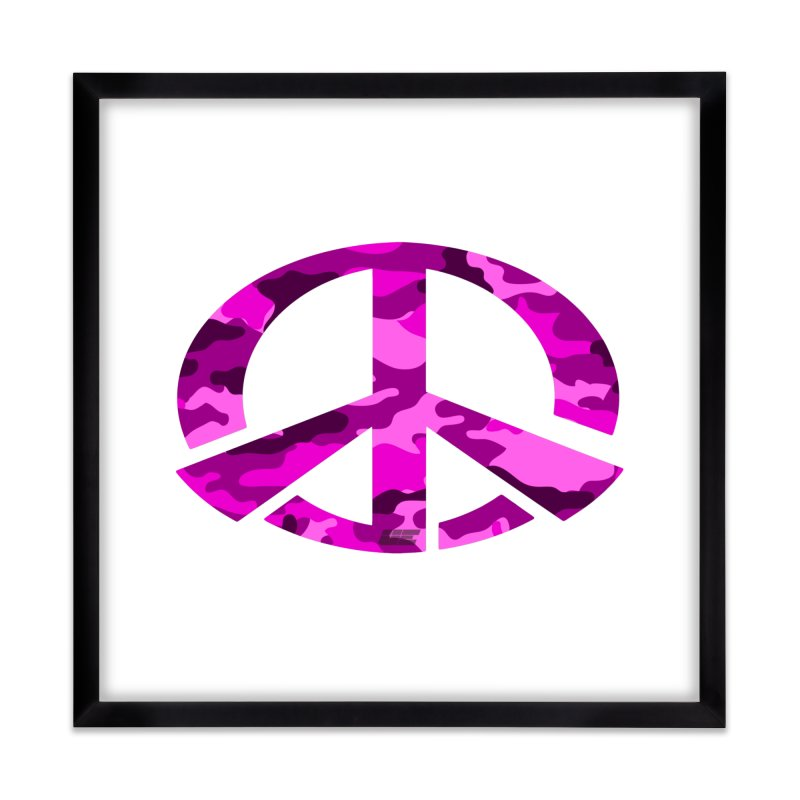 Peace - Pink Camo Edition Home Framed Fine Art Print by uniquego's Artist Shop
