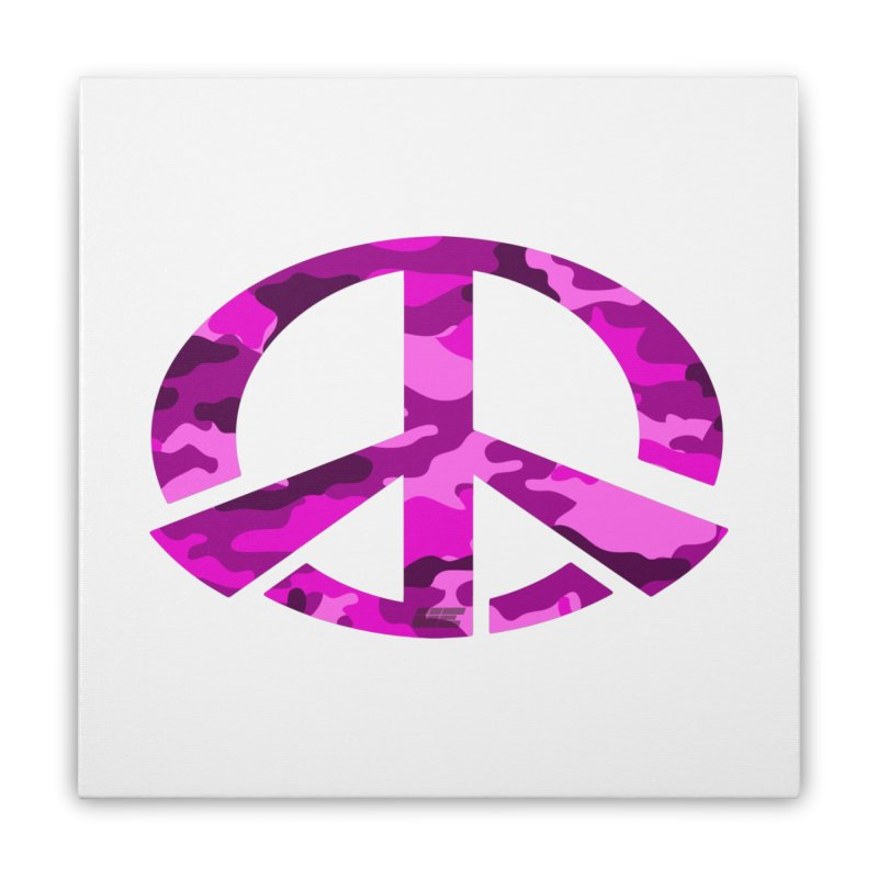 Peace - Pink Camo Edition Home Stretched Canvas by uniquego's Artist Shop
