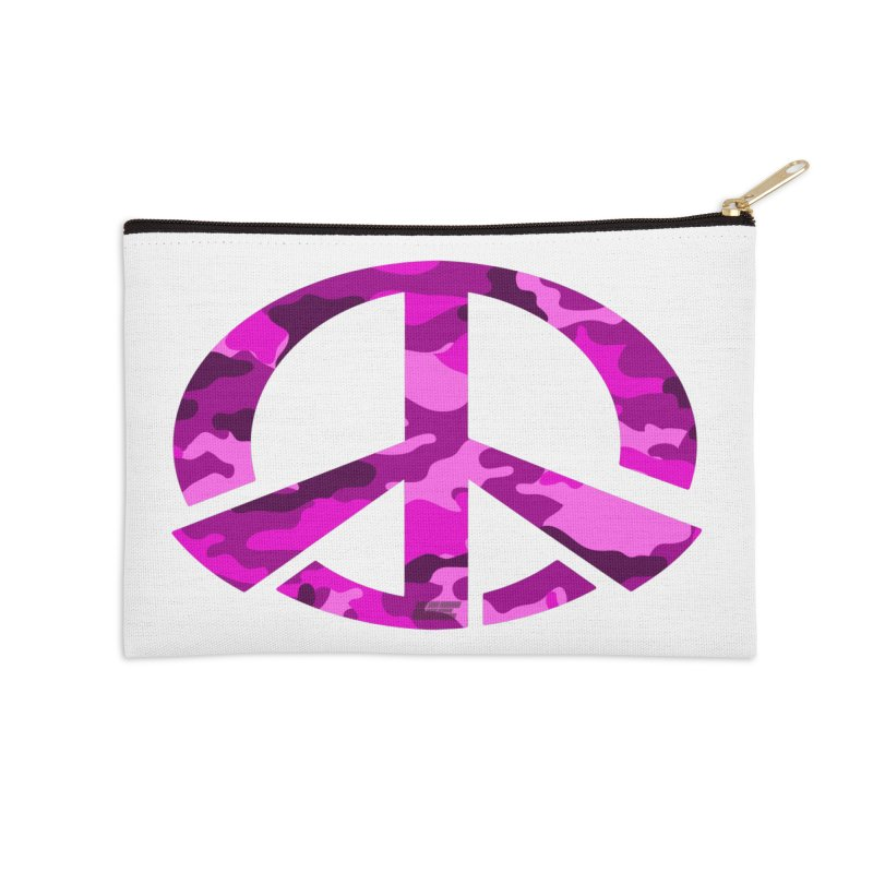 Peace - Pink Camo Edition Accessories Zip Pouch by uniquego's Artist Shop