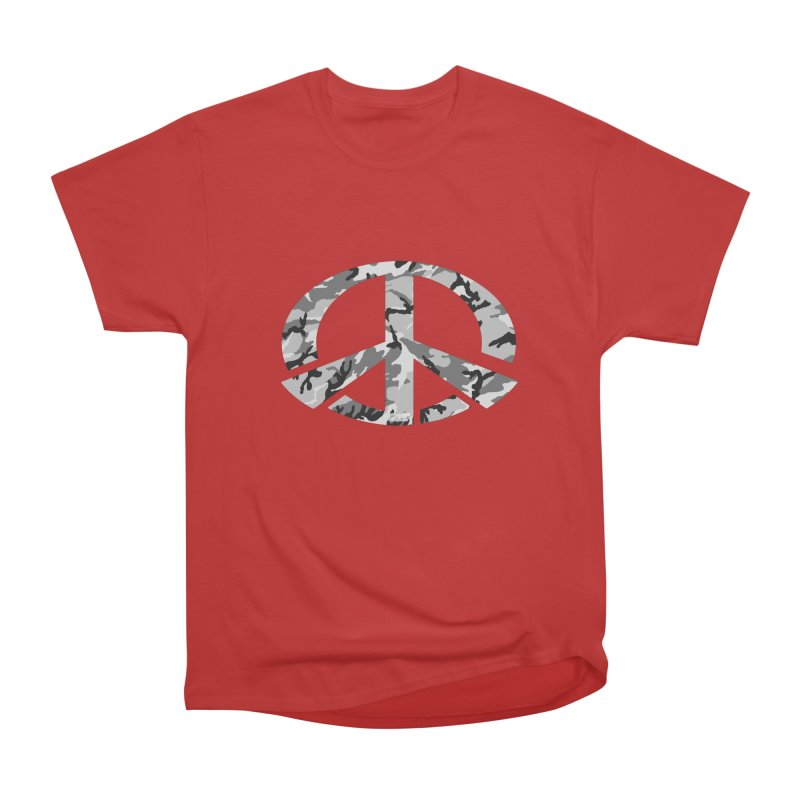 Peace - Snow Camo Edition Men's Heavyweight T-Shirt by uniquego's Artist Shop