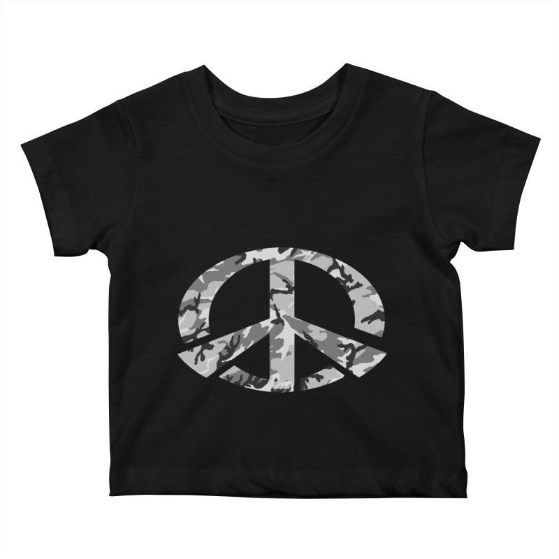 Peace - Snow Camo Edition Kids Baby T-Shirt by uniquego's Artist Shop