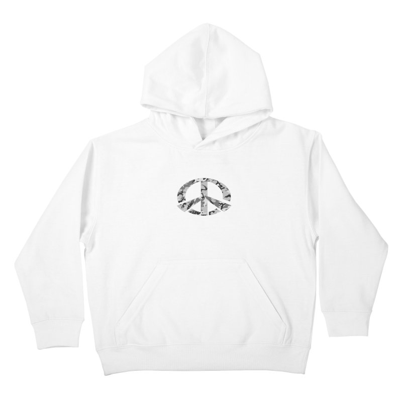 Peace - Snow Camo Edition Kids Pullover Hoody by uniquego's Artist Shop