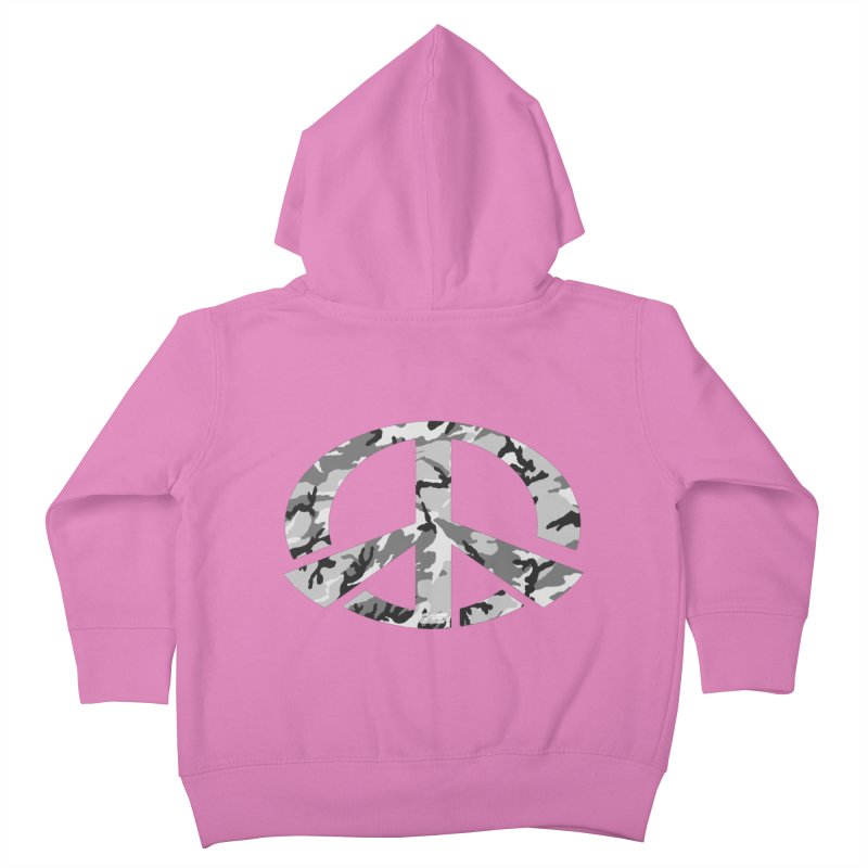 Peace - Snow Camo Edition Kids Toddler Zip-Up Hoody by uniquego's Artist Shop