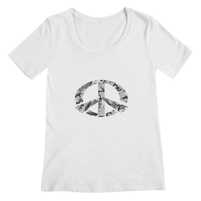 Peace - Snow Camo Edition Women's Regular Scoop Neck by uniquego's Artist Shop