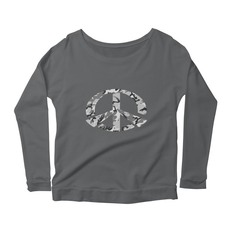 Peace - Snow Camo Edition Women's Scoop Neck Longsleeve T-Shirt by uniquego's Artist Shop