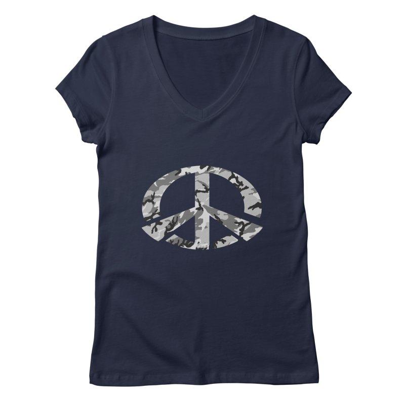 Peace - Snow Camo Edition Women's Regular V-Neck by uniquego's Artist Shop