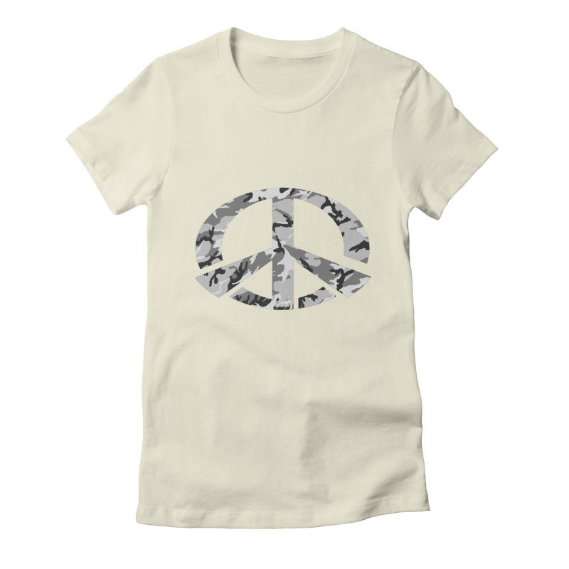 Peace - Snow Camo Edition Women's Fitted T-Shirt by uniquego's Artist Shop