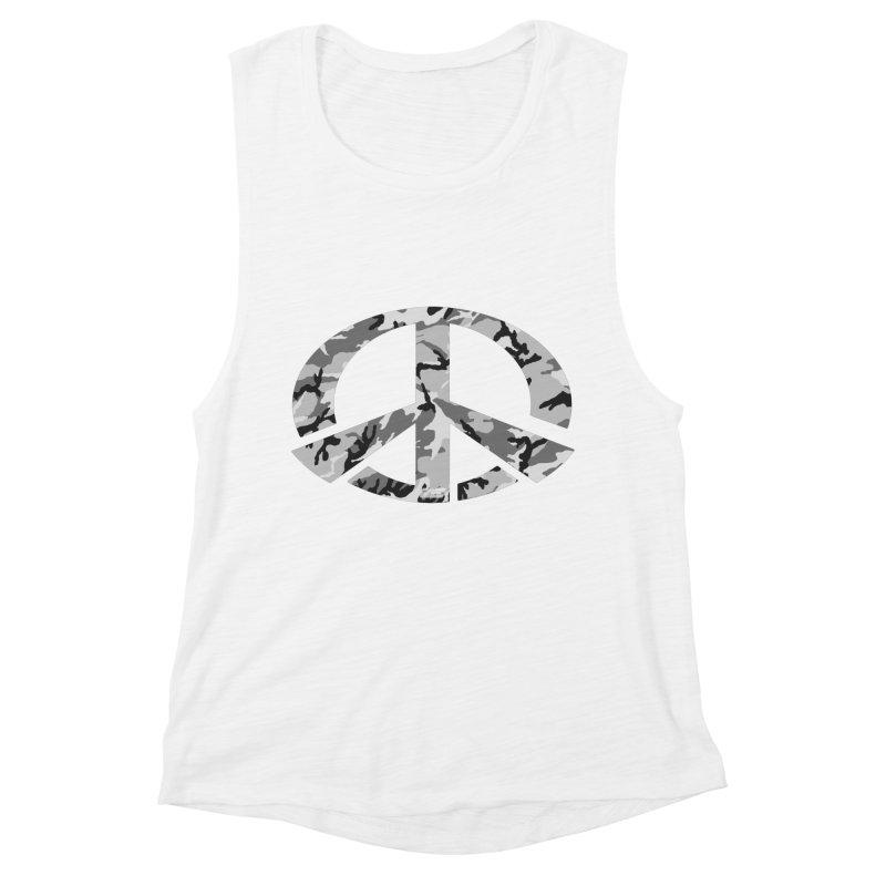 Peace - Snow Camo Edition Women's Muscle Tank by uniquego's Artist Shop