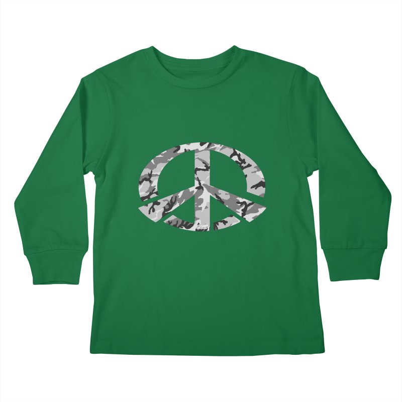 Peace - Snow Camo Edition Kids Longsleeve T-Shirt by uniquego's Artist Shop