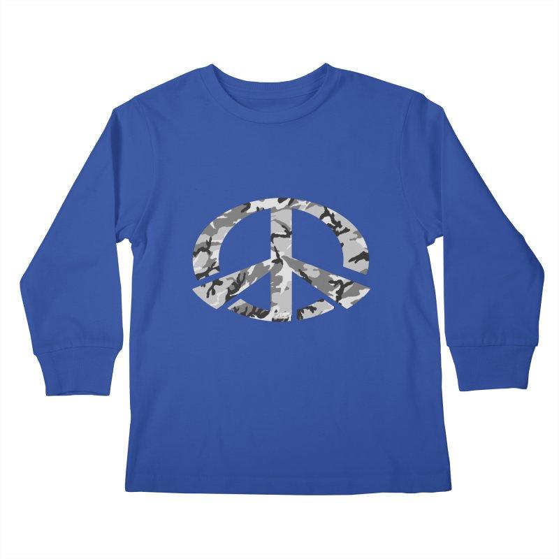 Peace - Snow Camo Edition Kids Longsleeve T-Shirt by uniquego's Artist Shop