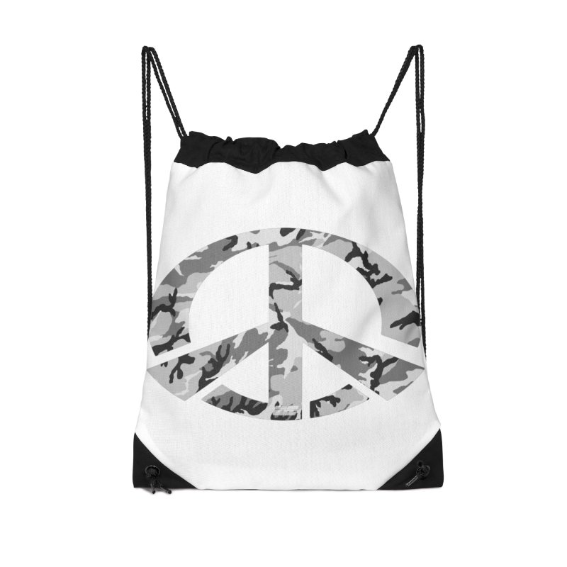 Peace - Snow Camo Edition Accessories Drawstring Bag Bag by uniquego's Artist Shop
