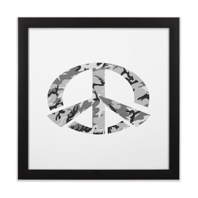 Peace - Snow Camo Edition Home Framed Fine Art Print by uniquego's Artist Shop