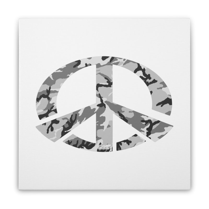 Peace - Snow Camo Edition Home Stretched Canvas by uniquego's Artist Shop