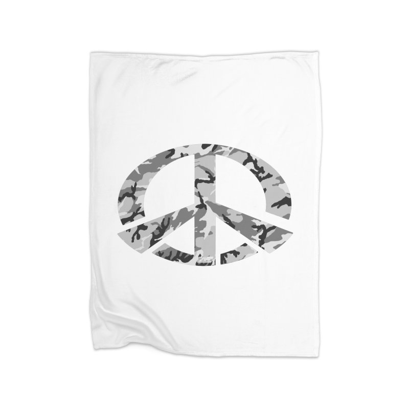 Peace - Snow Camo Edition Home Fleece Blanket Blanket by uniquego's Artist Shop