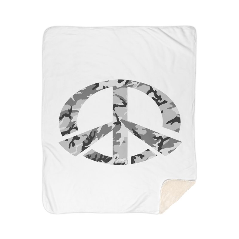 Peace - Snow Camo Edition Home Sherpa Blanket Blanket by uniquego's Artist Shop