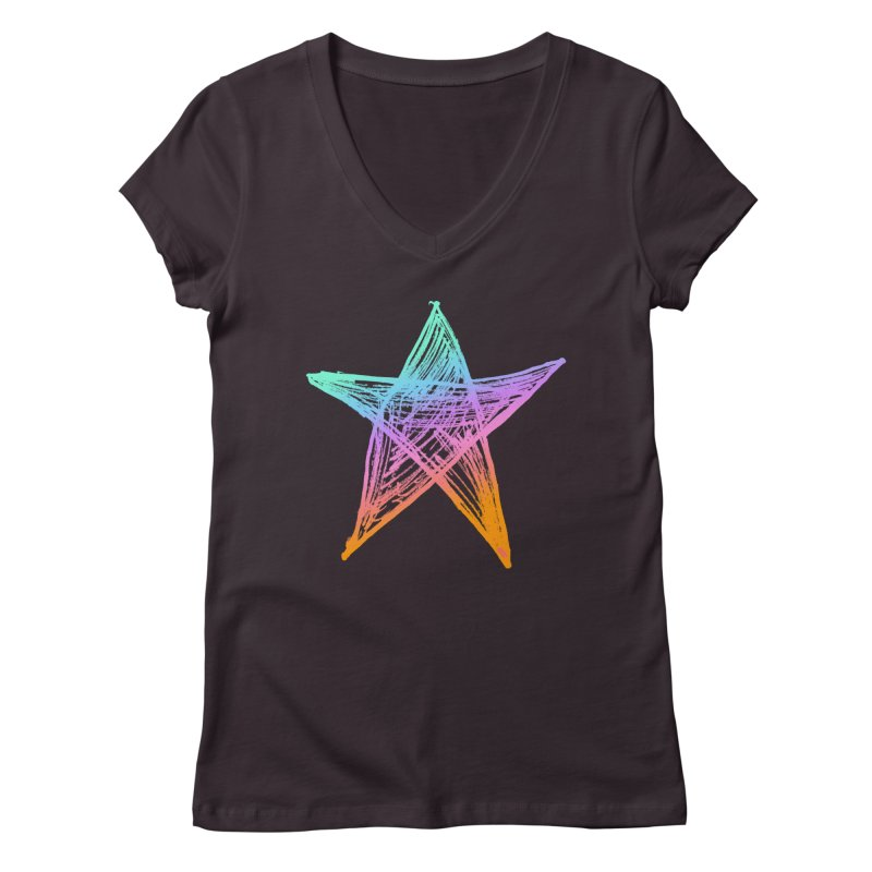 Like A Star Women's Regular V-Neck by uniquego's Artist Shop