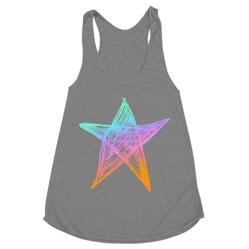 Like A Star Women's Racerback Triblend Tank by uniquego's Artist Shop