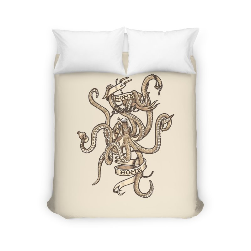 Home sweet home_vintage Home Duvet by Unleished Art