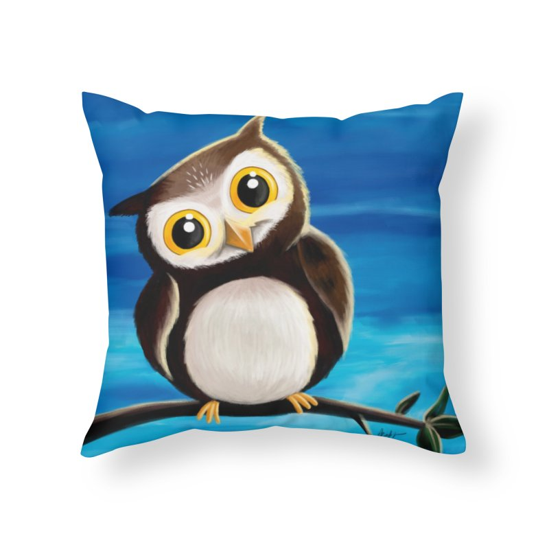 Happy owl Home Throw Pillow by Unleished's Artist Shop