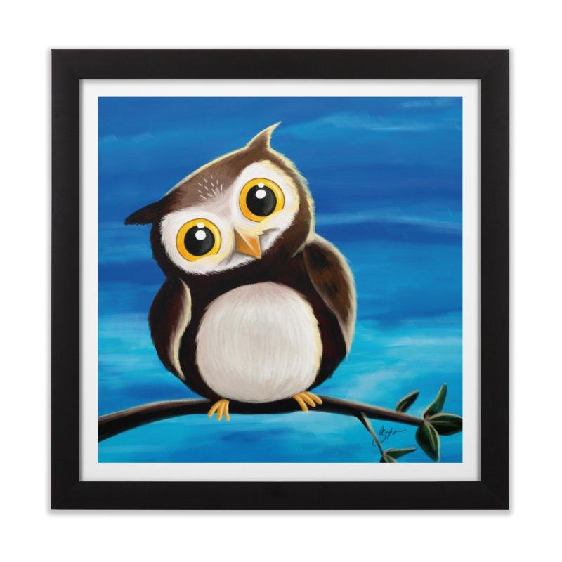 Happy owl Home Framed Fine Art Print by Unleished's Artist Shop