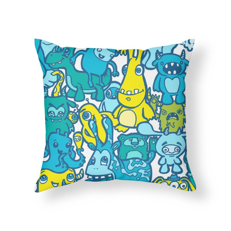 Monster doodles Home Throw Pillow by Unleished Art