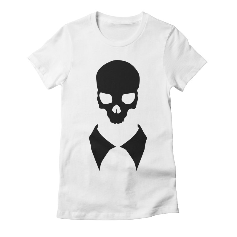 CLASSIC SKULL COLLAR TEE (BLACK) Women's Fitted T-Shirt by unrulygent's Artist Shop