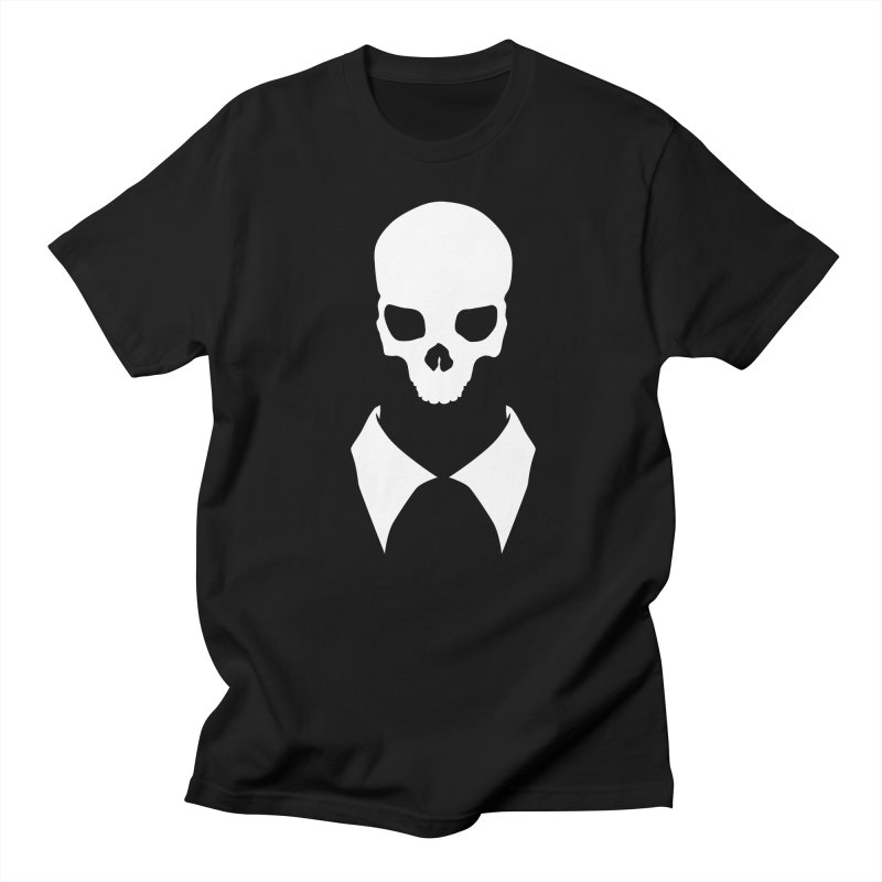 CLASSIC SKULL COLLAR TEE (WHITE) Men's T-Shirt by unrulygent's Artist Shop