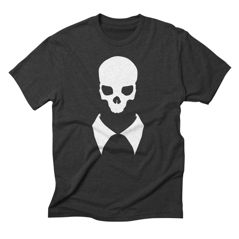 CLASSIC SKULL COLLAR TEE (WHITE) Men's Triblend T-Shirt by unrulygent's Artist Shop