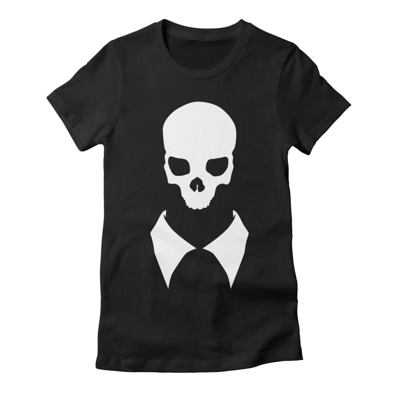 CLASSIC SKULL COLLAR TEE (WHITE) Women's Fitted T-Shirt by unrulygent's Artist Shop