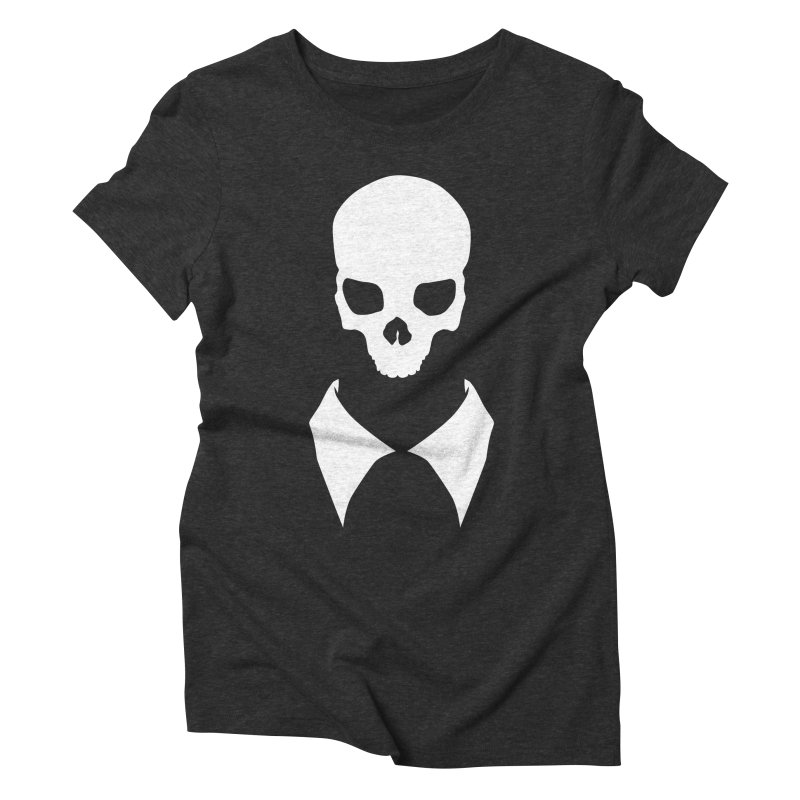CLASSIC SKULL COLLAR TEE (WHITE) Women's Triblend T-Shirt by unrulygent's Artist Shop