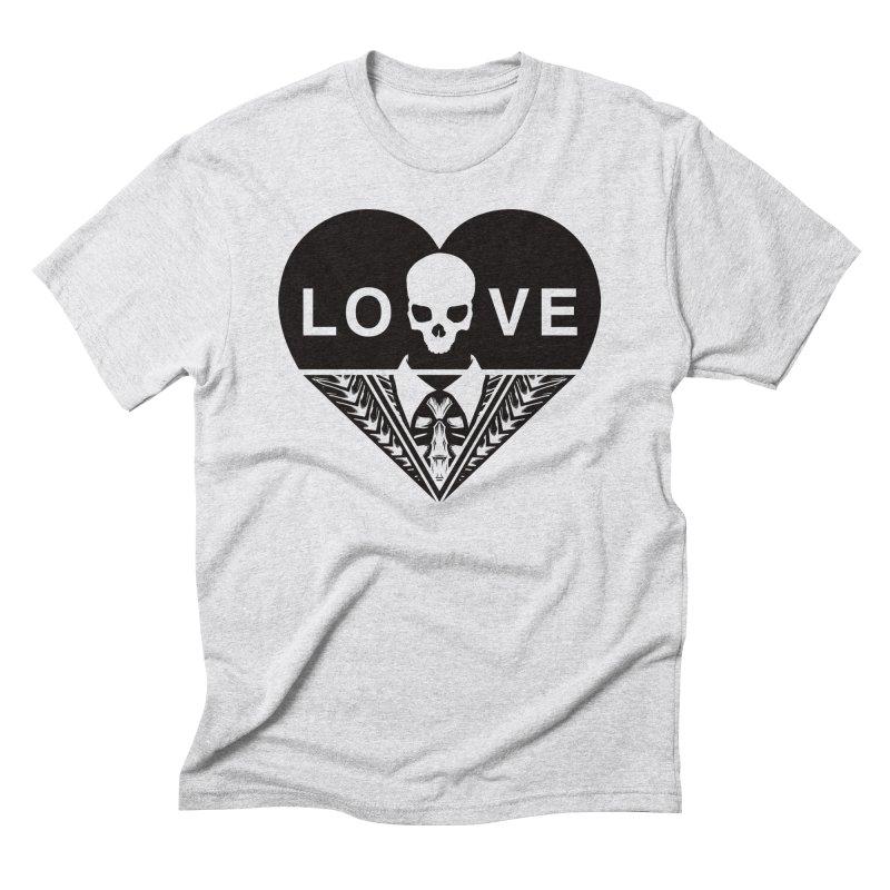 HEART LOVE TEE (BLACK) Men's Triblend T-Shirt by unrulygent's Artist Shop