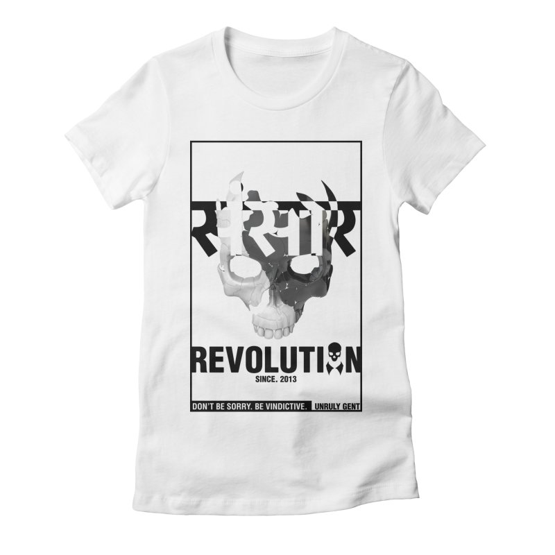 WORLD REVOLUTION (onWHITE) Women's Fitted T-Shirt by unrulygent's Artist Shop