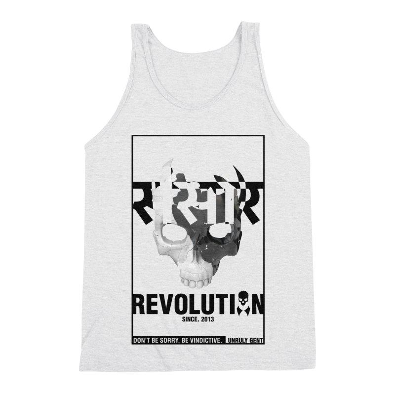 WORLD REVOLUTION (onWHITE) Men's Triblend Tank by unrulygent's Artist Shop