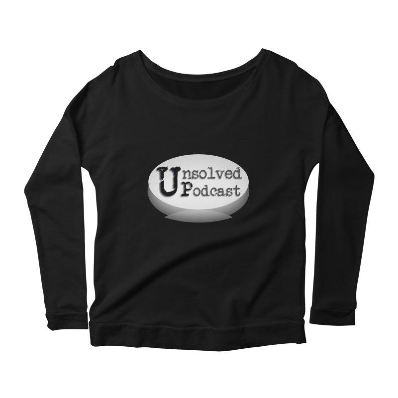 Logo Shirts - Black Women's Longsleeve Scoopneck  by Unsolved Podcast Gear Shop