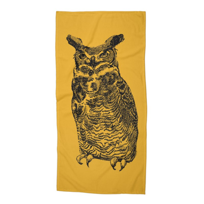 Enforcer Owl Accessories Beach Towel by Unspeakable Records' Artist Shop