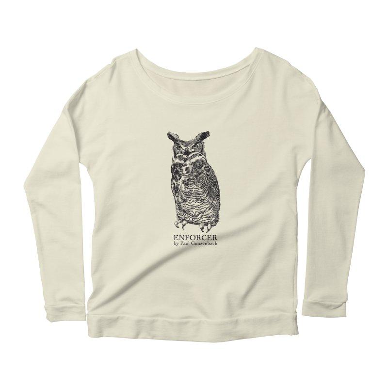 Enforcer Owl Women's Longsleeve Scoopneck  by Unspeakable Records' Artist Shop