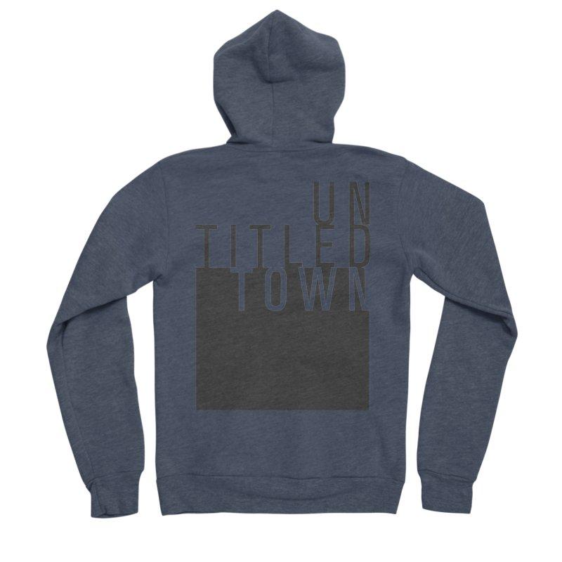 Un/Titled/Town Black +Transparent letters Men's Sponge Fleece Zip-Up Hoody by UntitledTown Store