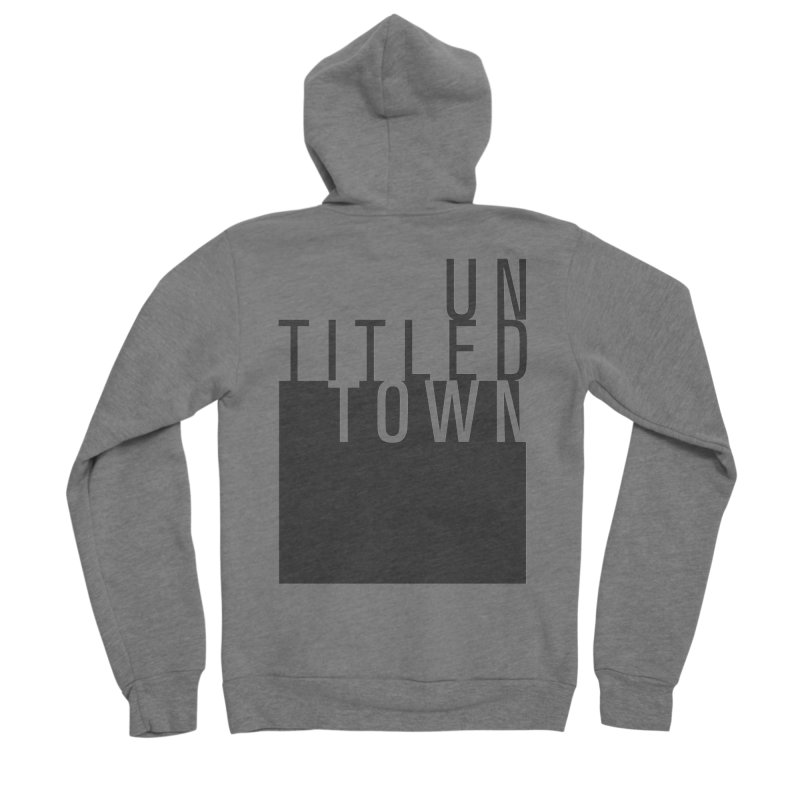 Un/Titled/Town Black +Transparent letters Women's Sponge Fleece Zip-Up Hoody by UntitledTown Store