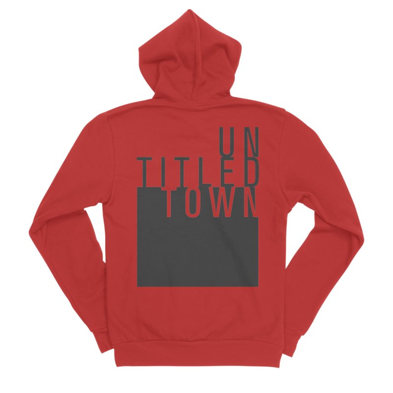 Un/Titled/Town Black +Transparent letters Men's Zip-Up Hoody by UntitledTown Store