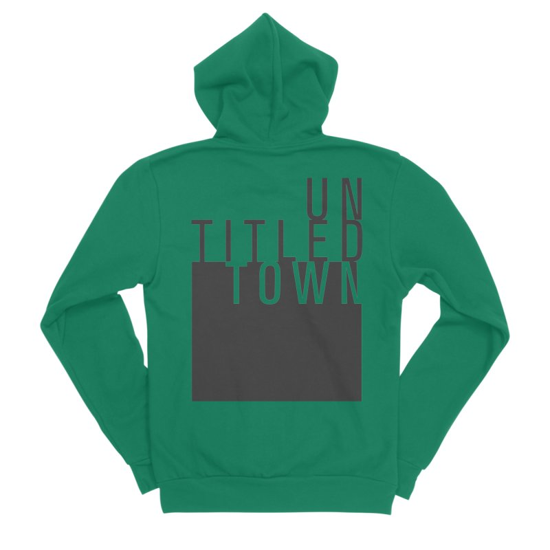 Un/Titled/Town Black +Transparent letters Men's Sponge Fleece Zip-Up Hoody by UntitledTown Store