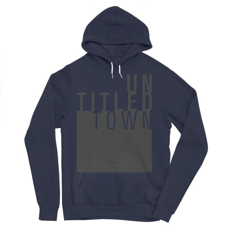 Un/Titled/Town Black +Transparent letters Women's Sponge Fleece Pullover Hoody by UntitledTown Store